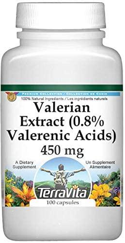 Valerian Extract (0.8% Valerenic Acids) - 450 mg (100 Capsules, ZIN: 512430)