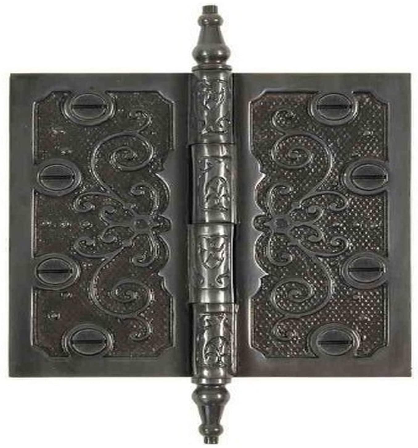 Brass Elegans LF002DBZ Solid Brass Lafayette Design 4-Inch Decorative Door Hinge with Brass Screws, Dark Bronze Finish