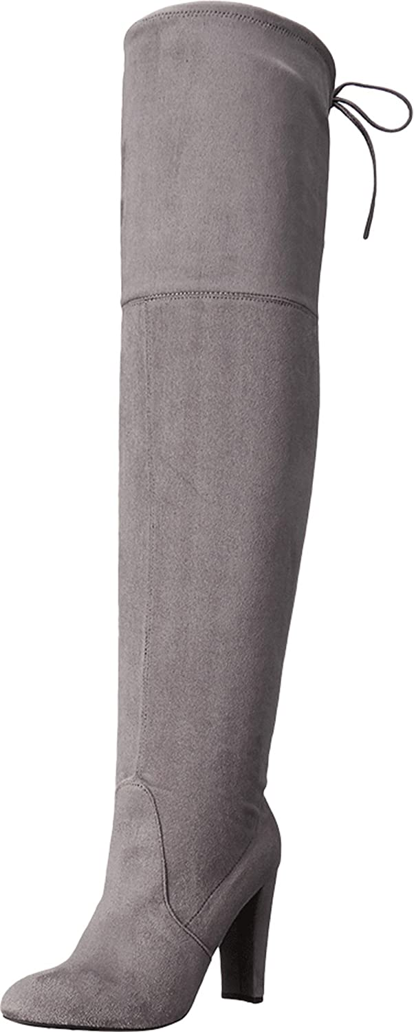 Charles David Sycamore Gray Strech Suede Thigh High Over Knee Fitted Dress Boots (9.5)