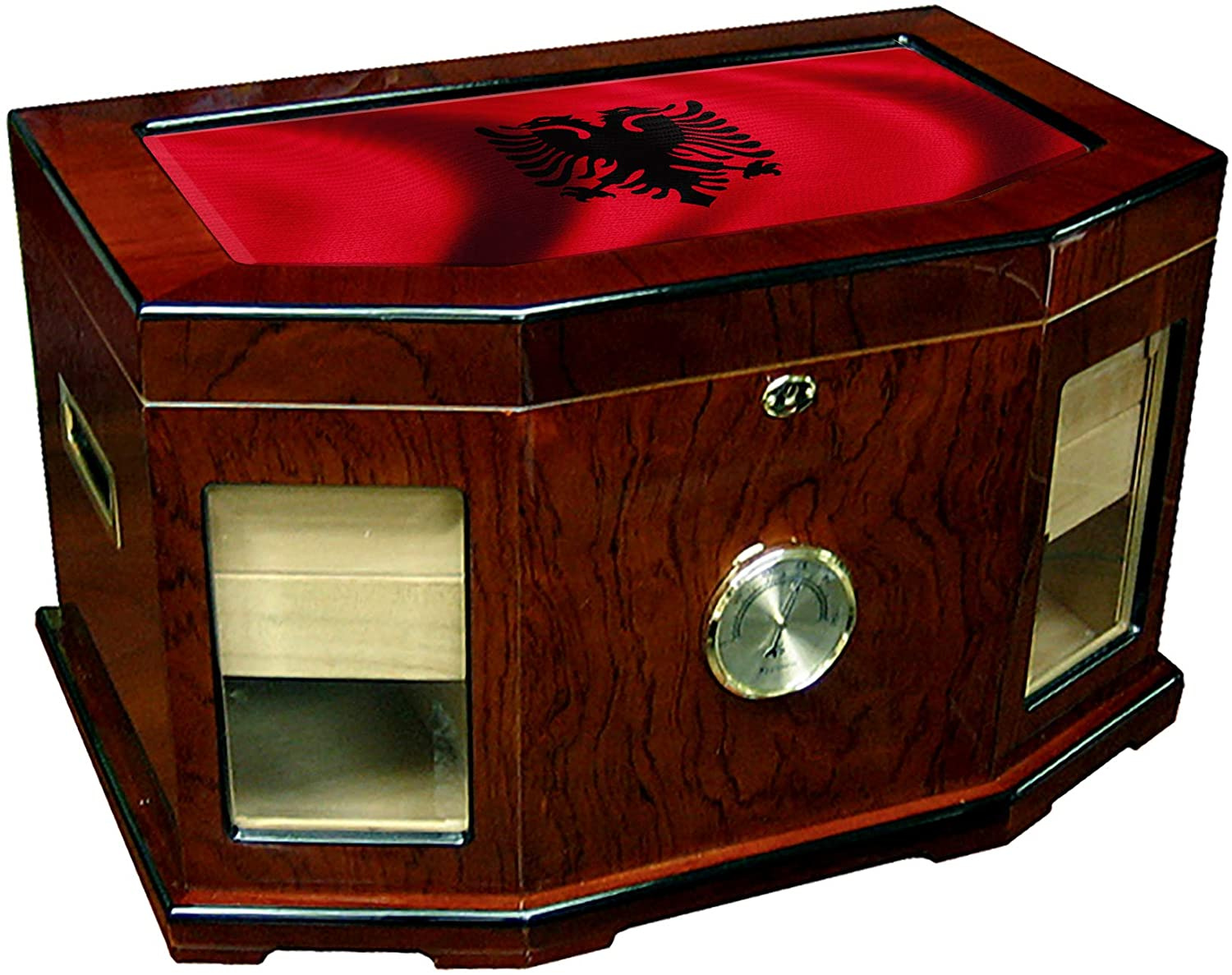 Large Premium Desktop Humidor - Glass Top - Flag of Albania (Albanian) - Waves Design - 300 Cigar Capacity - Cedar Lined with Two humidifiers & Large Front Mounted Hygrometer.