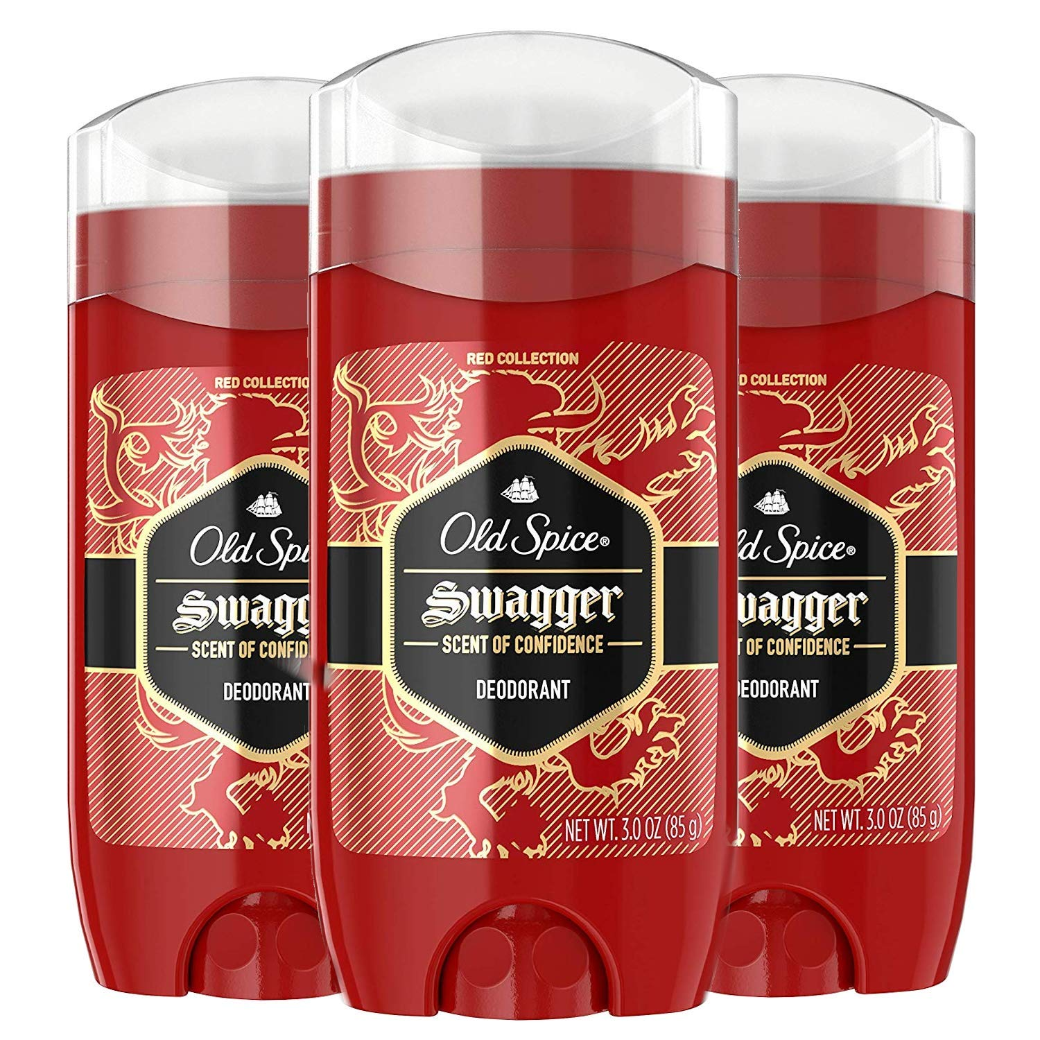 Old Spice Aluminum Free Deodorant for Men, Swagger Confidence and Amberwood, Red Collection, 3 Oz (Pack of 3)
