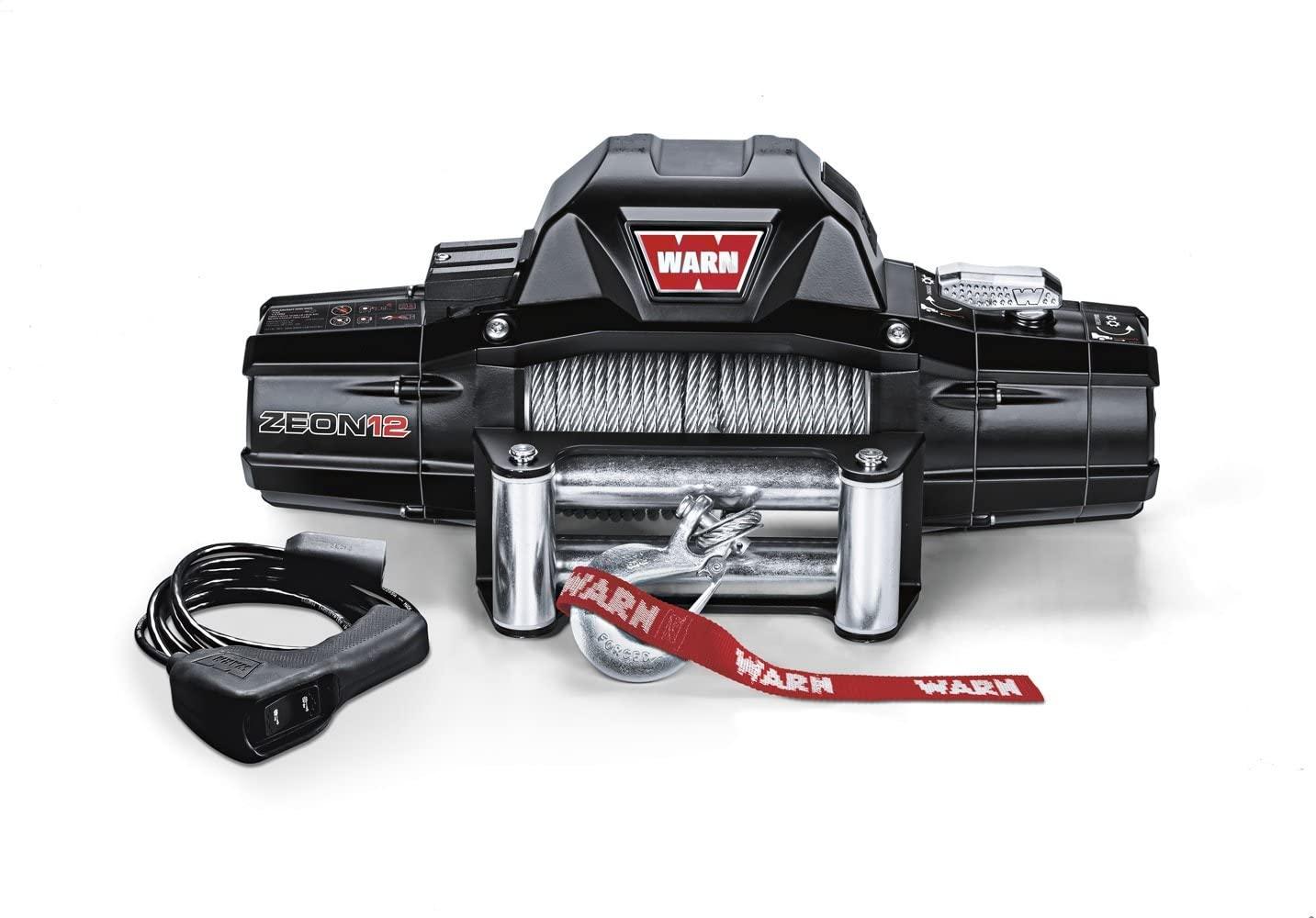 WARN 89120 ZEON 12 Electric 12V Winch with Steel Cable Wire Rope: 3/8