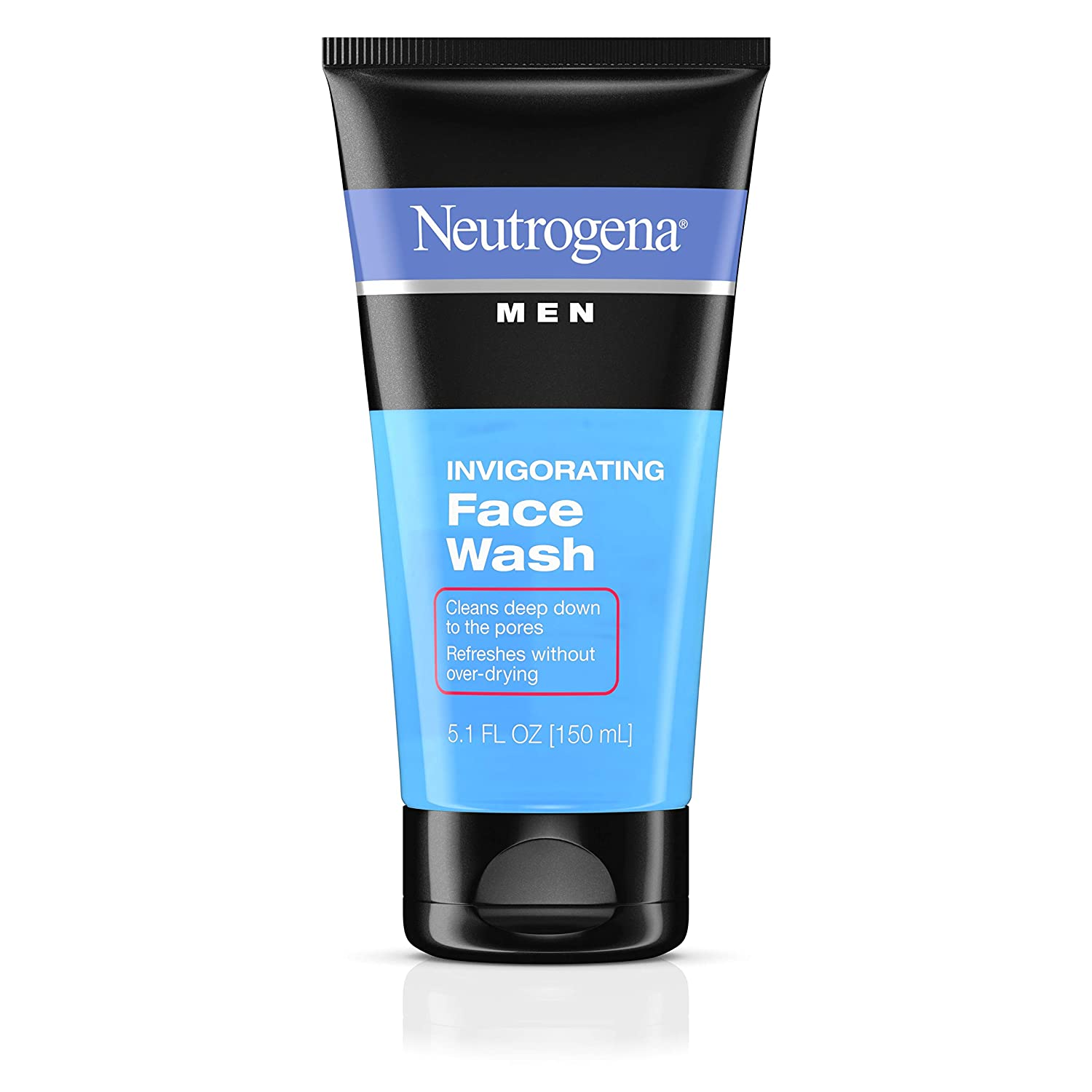 Neutrogena Men's Invigorating Daily Foaming Gel Face Wash, Energizing & Refreshing Oil-Free Facial Cleanser for Men, 5.1 fl. oz (Pack of 6)