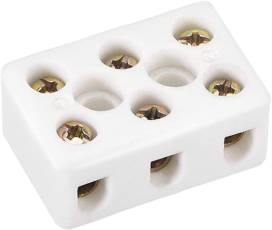 uxcell 3 Way Ceramics Terminal Blocks High Temp Porcelain Ceramic Connectors