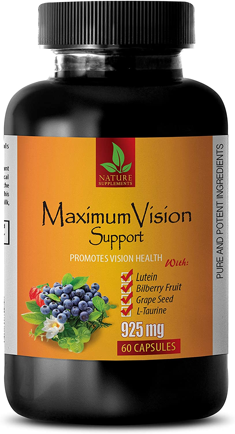 Vitamins for Eyes with Lutein and Bilberry - Maximum Vision Support - Promotes Vision Health - Lutein Eye Vitamins - 1 Bottle 60 Capsules