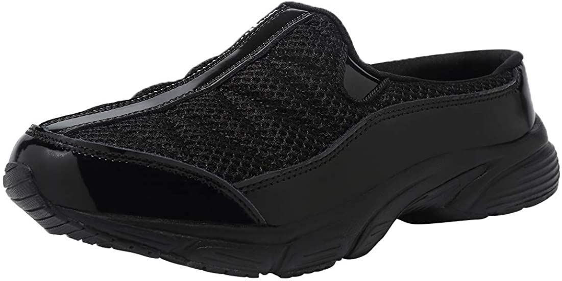 FANTURE Womens Mesh Breathable Casual Sneakers Clog Mule Ultra Lightweight Slip on Walking Shoes Genuine Suede Leather U420Sneaker077-Black Paint-39
