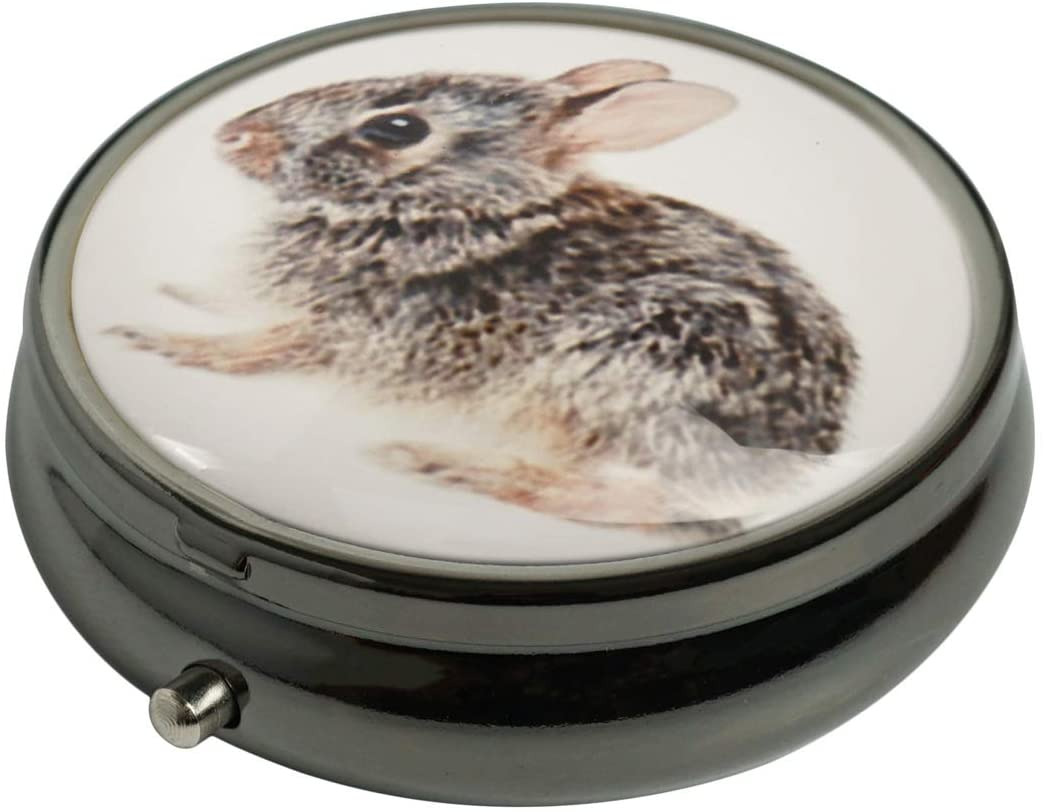 PTCRMG Image Custom Unique Round Pill Box Case Tablet Medicine Pocket Purse Travel Pill Vitamin Decorative Box Case Holder (Bunny-Rabbit)