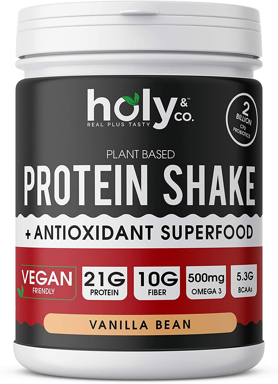 Holy and Co. Plant Based Protein BCAA Amino Acid Protein Powder, Vanilla Bean – Vegan, Low Net Carbs, No Sugar Added, Non Dairy, Non Soy, Non GMO, Gluten-Free, 1 LB (16 oz)