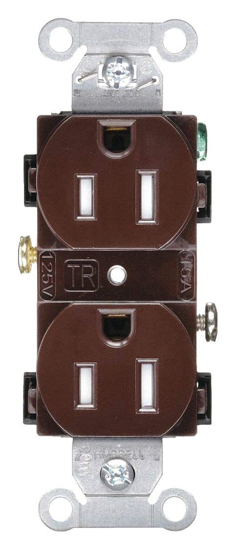 Hubbell Wiring Device-KELLEMS 15A Commercial Environments Receptacle, Brown; Tamper Resistant: Yes