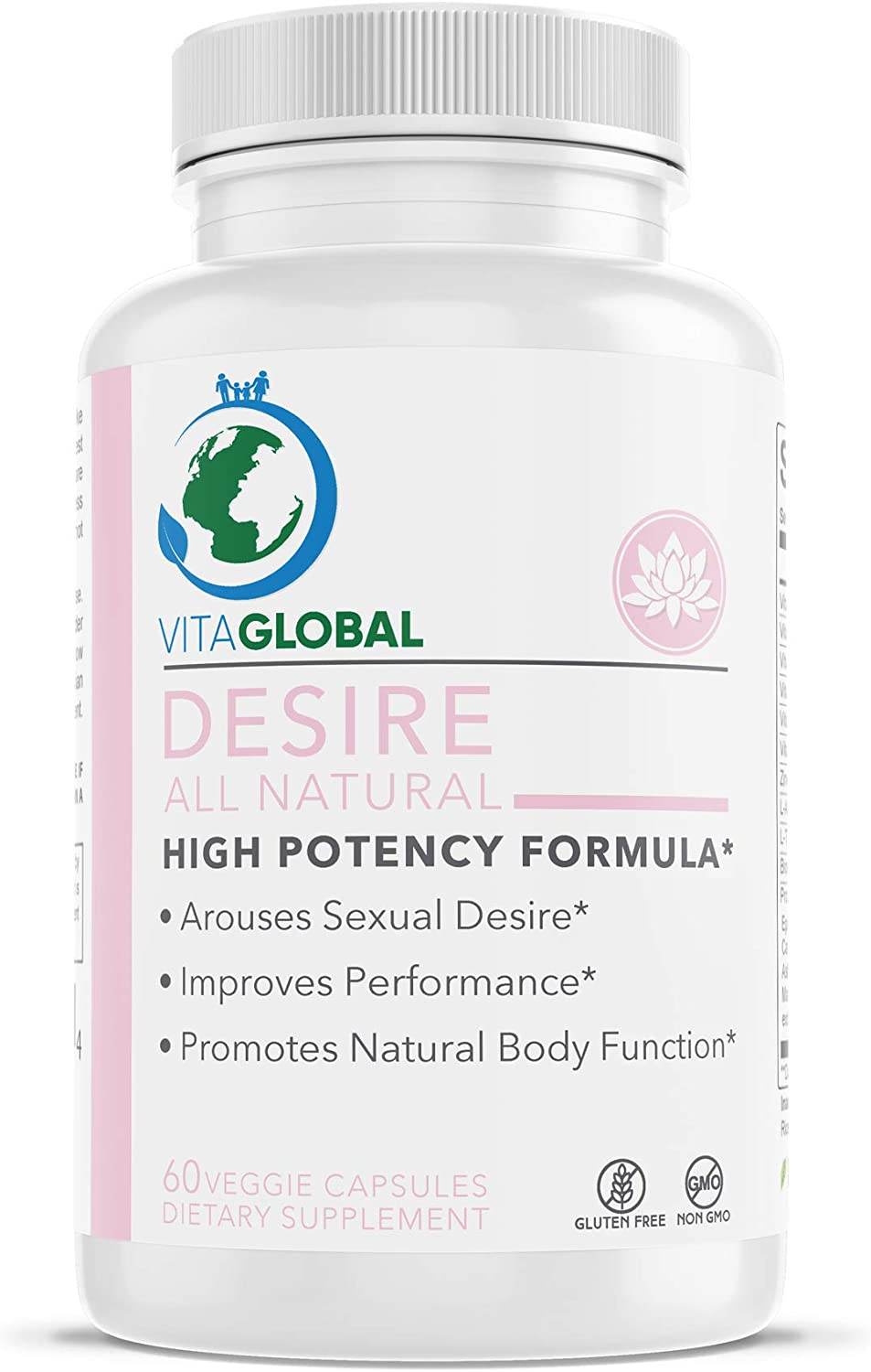 Desire All Natural High Potency Formula | Arouse Sexual Desire | Increase Performance, Confidence, Pleasure, Strength, Energy | Promote Natural Body Function | by VITAGLOBAL 60 Capsules