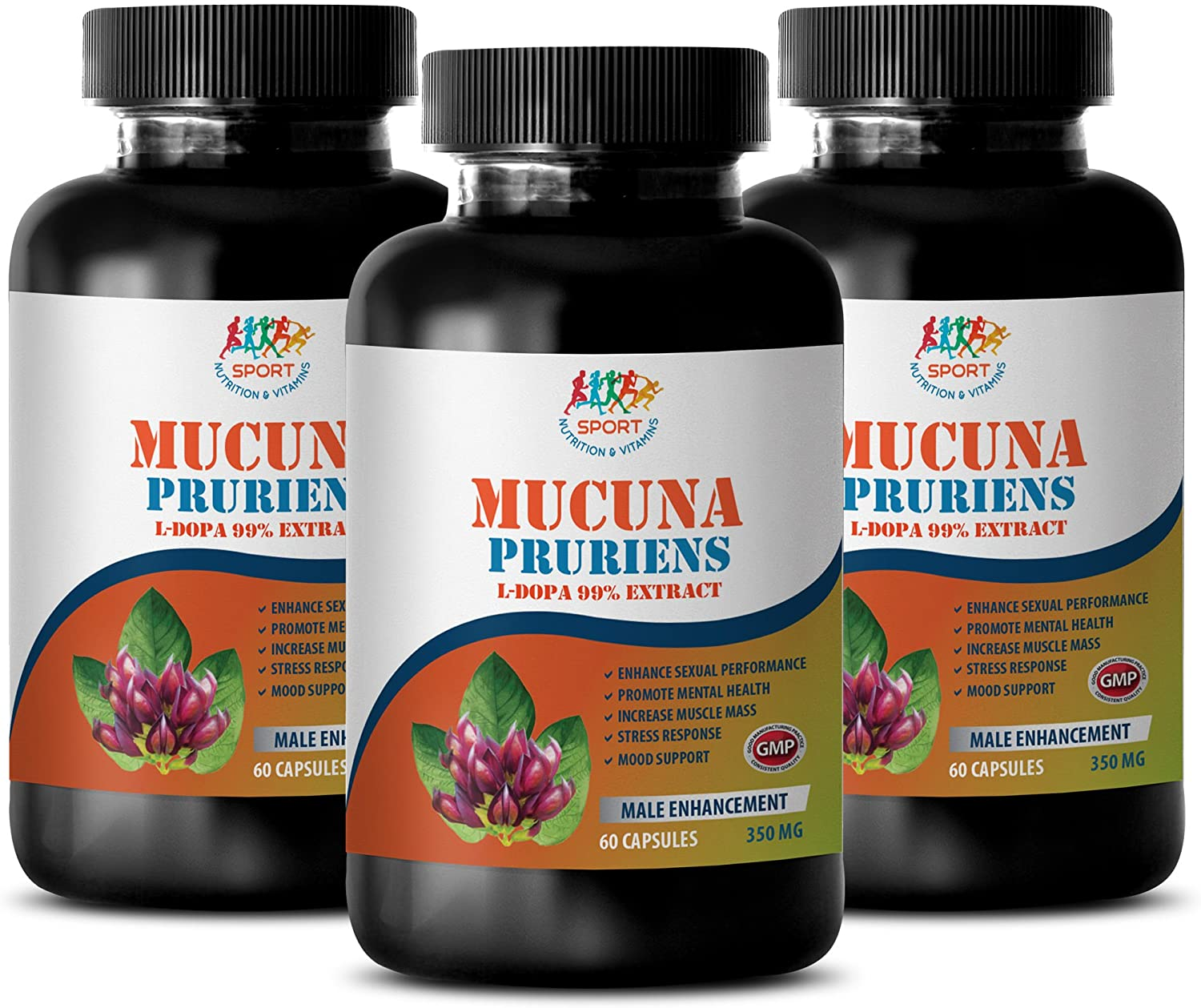 libido Natural Enhancer for Women - MUCUNA PRURIENS 99% Extract 350MG - Stress Relief - Mood and LIBIDO Booster - Natural - mucuna pruriens Powder - 3 Bottles (180 Capsules)