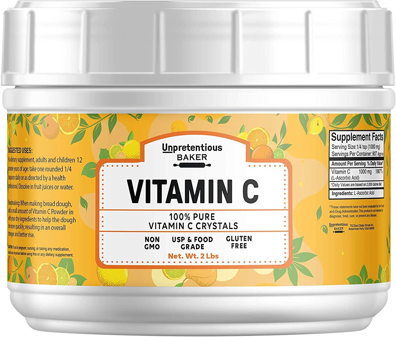 Vitamin C Powder , 2 lb, 100% Pure Ascorbic Acid, Vegan, Non-GMO & Gluten-Free, Lab Tested, Resealable Bag by Unpretentious