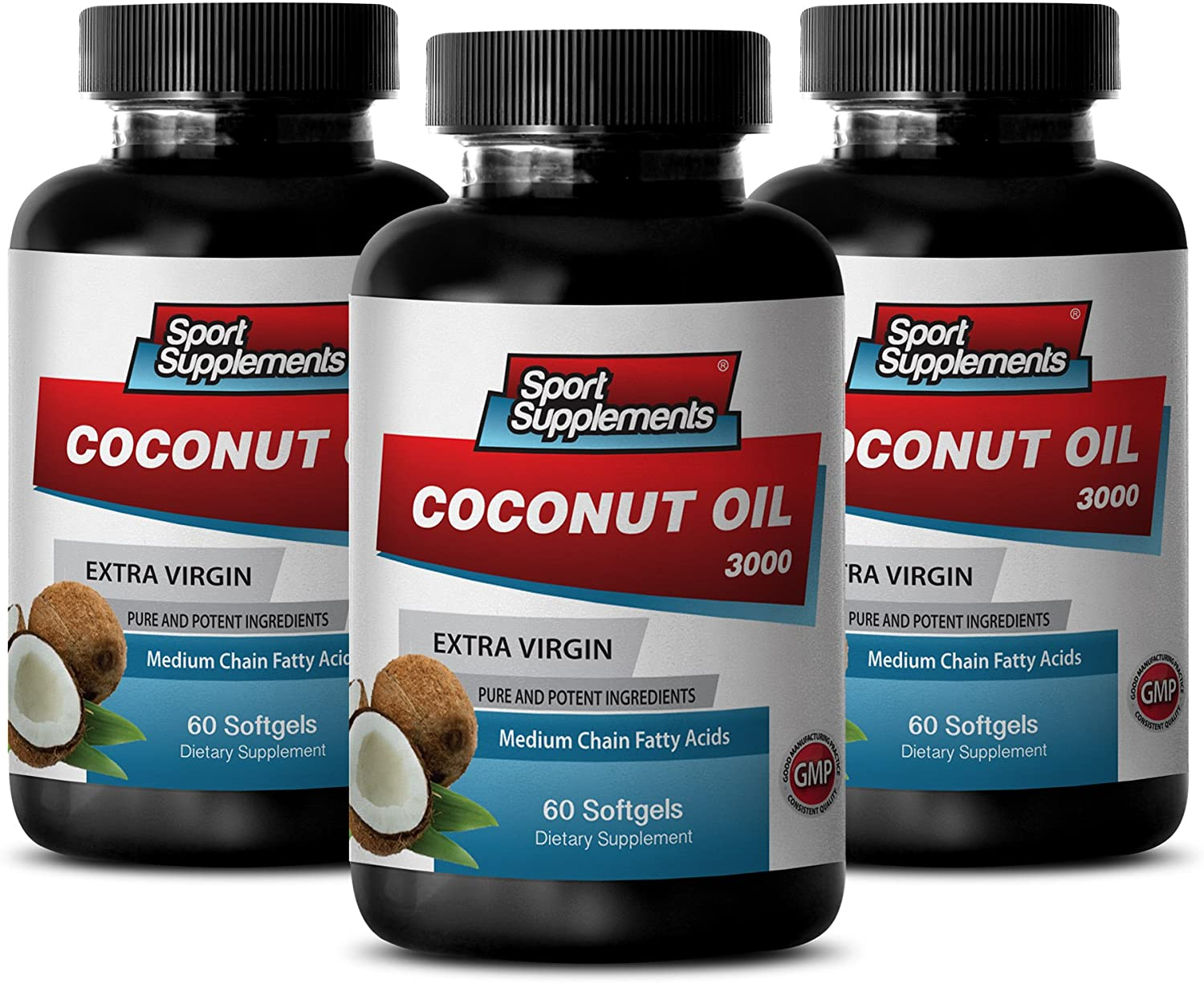 Weight Loss Men - Coconut Oil 3000MG Extra Virgin - Weight Management - 3 Bottles (180 Softgels)
