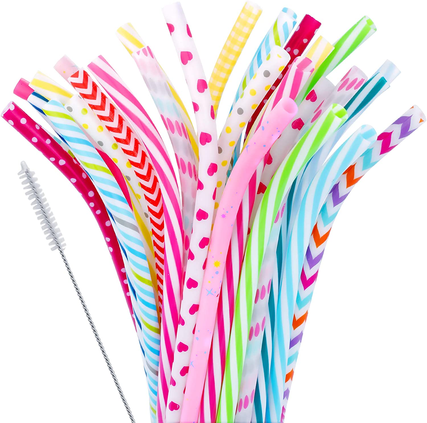 30 Pieces Reusable Bent Plastic Straws,BPA-Free,9
