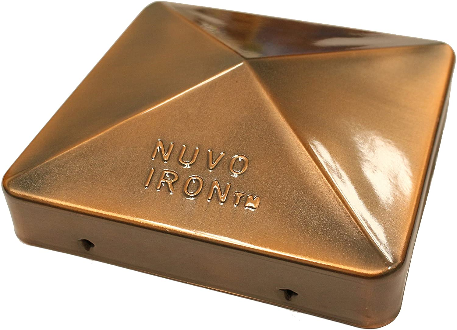 """Nuvo Iron Decorative Easy Post Cap for Posts with Rounded Corners for 5.5"""" x 5.5"""" Posts, Copper Plated"""