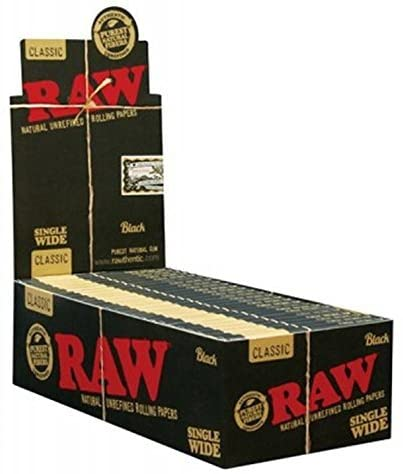 RAW Black Classic Natural Unrefined Rolling Papers - Ultra Thin - 70mm Single Wide - (3)