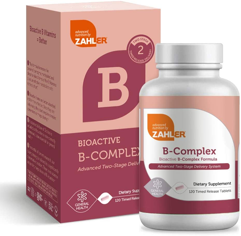 Zahler B Complex, Bioactive B-Complex Vitamins with Folate, Advanced Two-Stage delivery System, Certified Kosher, 120 Timed Release Tablets