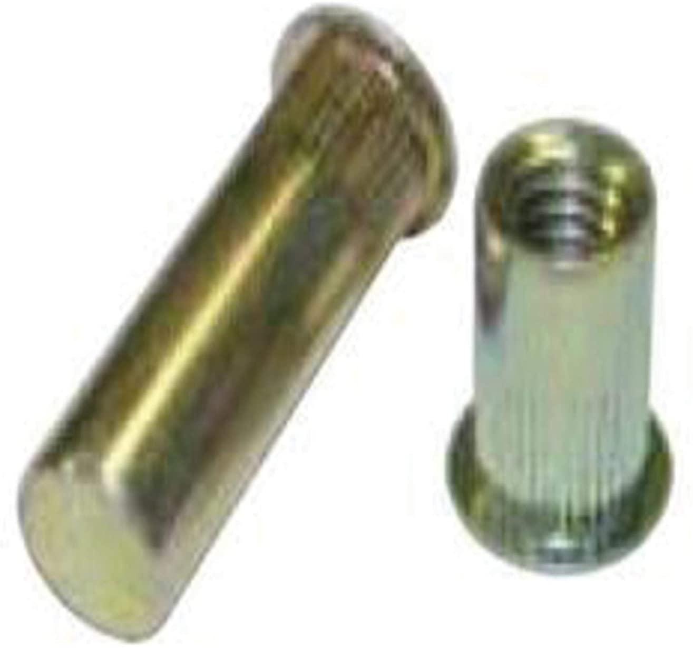 AELS8-632-130B, RIVETNUT, 6-32 (.080-.130 GR) RND Body Splined, LG FLNG HD, CLSD End, Steel, Zinc YLW (100 PK)