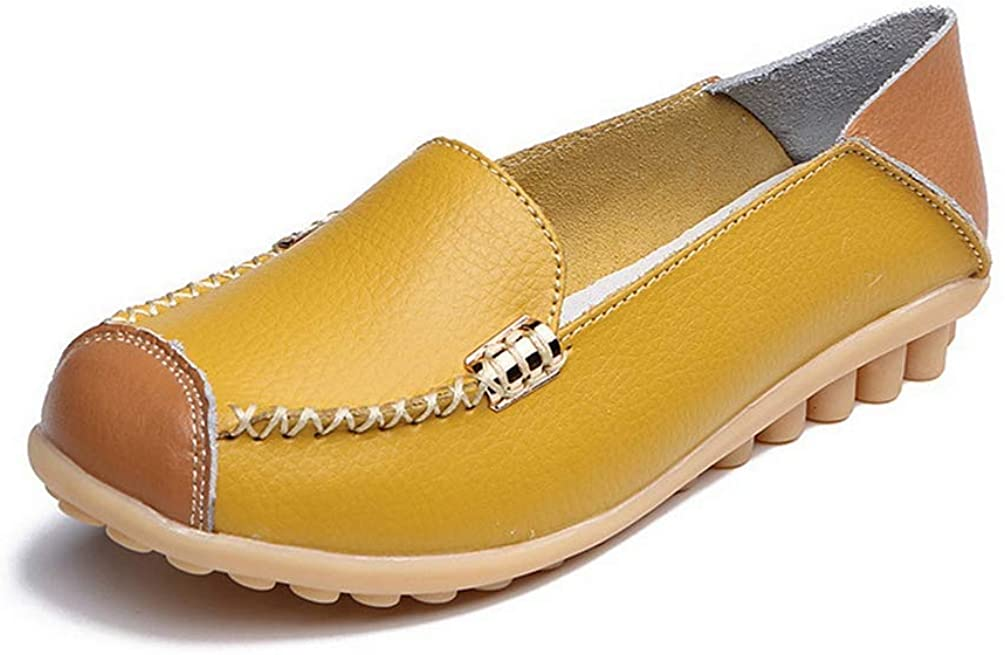Spring Autumn Shoes Genuine Leather Flats Moccasins Shoe Slip On Loafers Plus Size