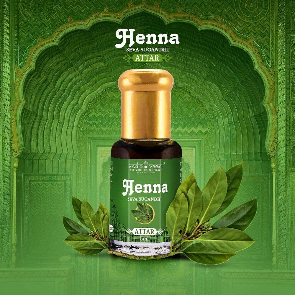 Vedic Vaani Natural Pure Henna Sugandhi Attar Fragrance Perfume Ittar, Oil, Roll-On for Prayer Worship, Spiritual and Pooja Purpose