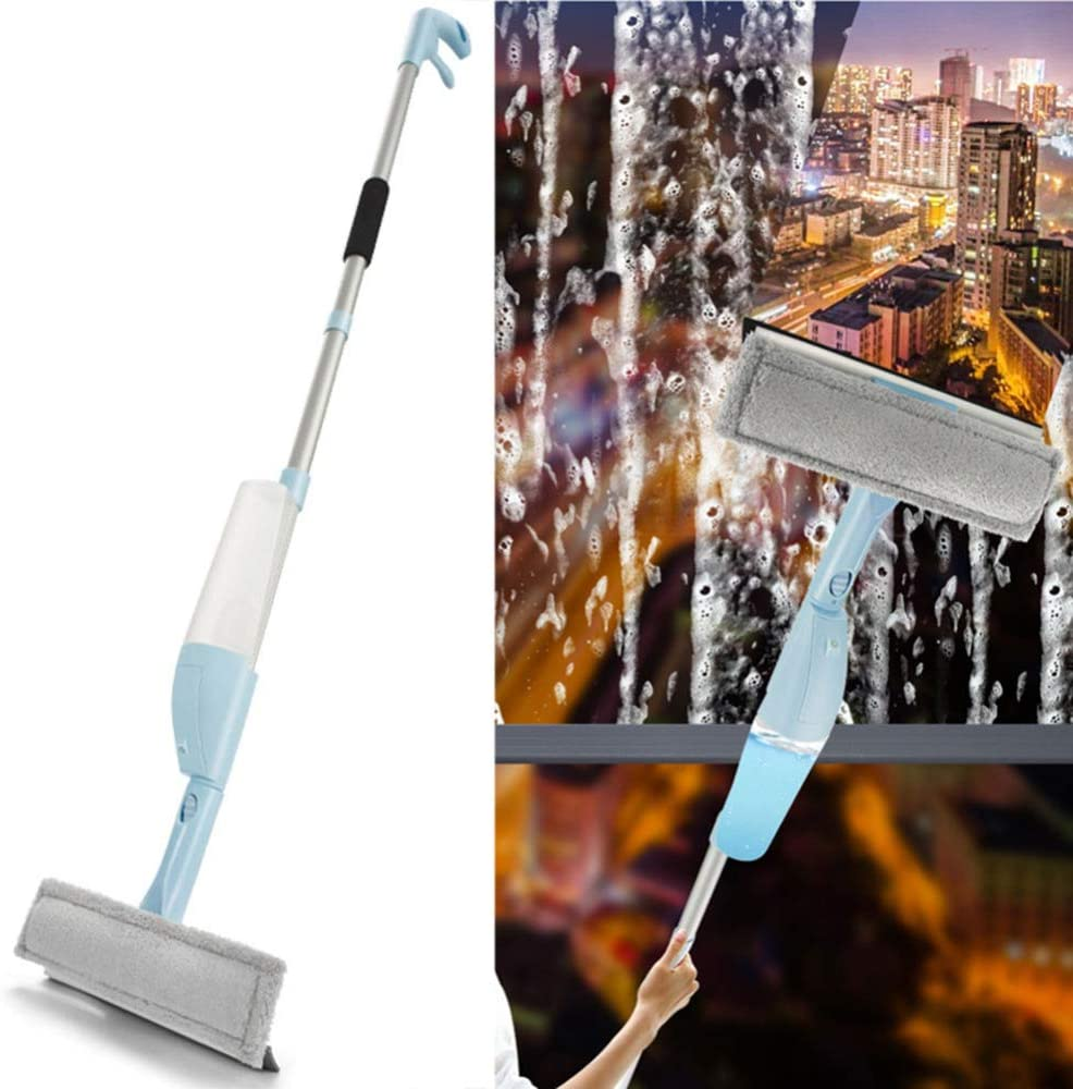 DGPOAD Window Cleaning Brush with Water Spray, Window Squeegee Cleaning Pole Telescopic, Glass Cleaning Tools for Mirror Car Bathroom Floor, for Indoor/Outdoor High Window