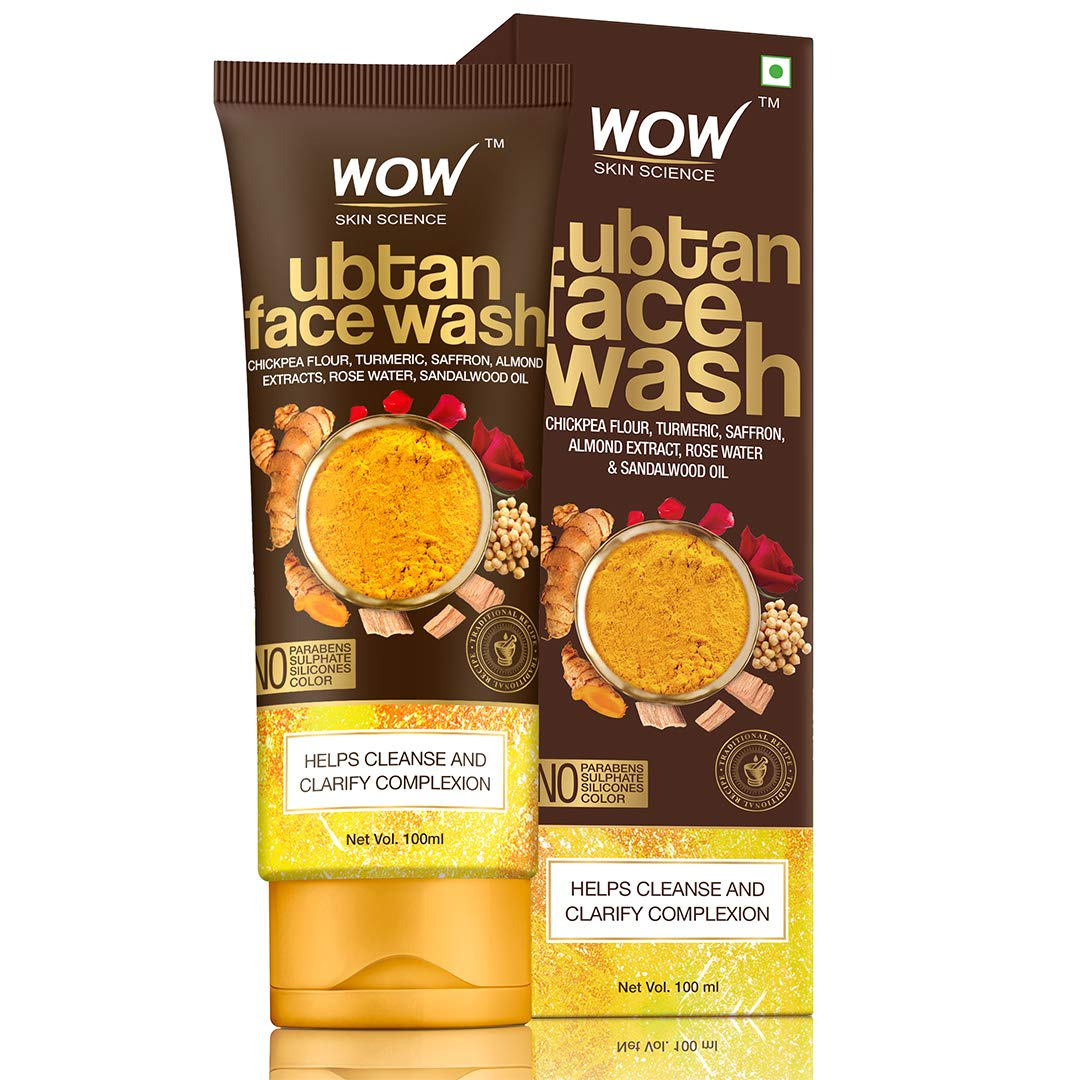 WOW Skin Science Ubtan Face Wash with Chickpea Flour, Turmeric, Saffron, Almond Extract, Rose Water & Sandalwood Oil - No Sulphate, Parabens, Silicones & Color - 100 mL
