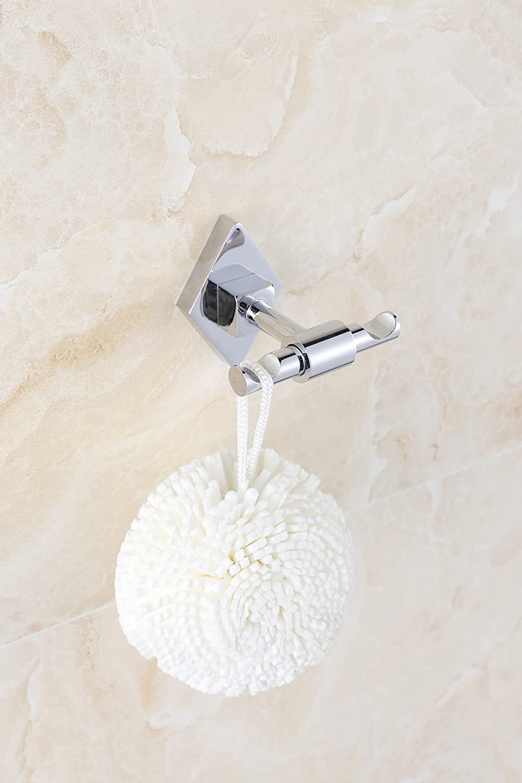 Anju Towel Bar Swivel Hanger Bathroom Storage Organizer Space Saving Wall Mount Hat Robe Hooks (Sivler)