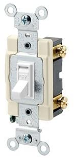 Leviton 54501-2W 1-Pole Switch, Framed Toggle, 15A, 120/277V, White, Side Wired