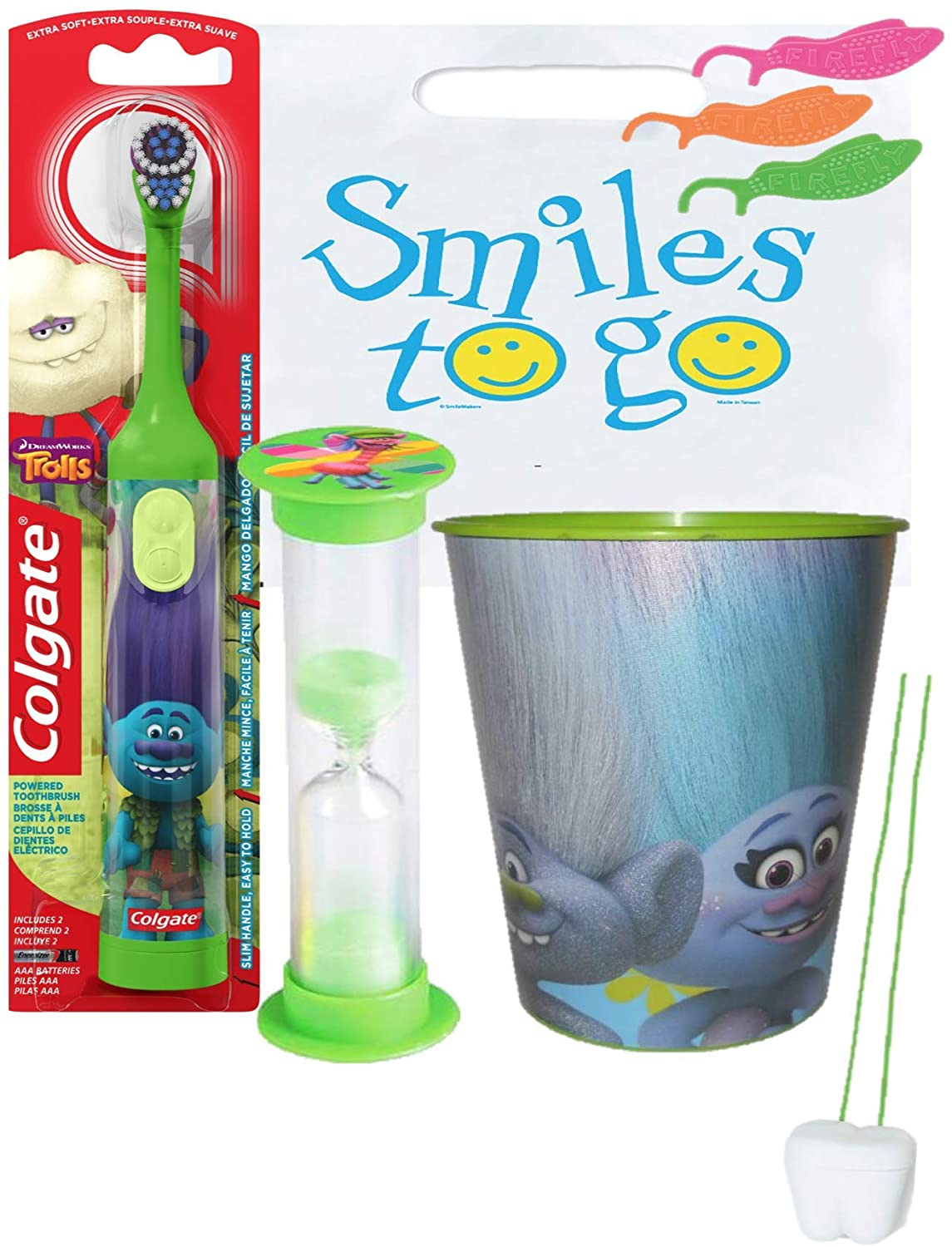 Trolls Branch Inspired 3pc Bright Smile Oral Hygiene Bundle! Turbo Spin Toothbrush, Brushing Timer & Mouthwash Rinse Cup! Plus Dental Gift Bag & Tooth Saver Necklace!
