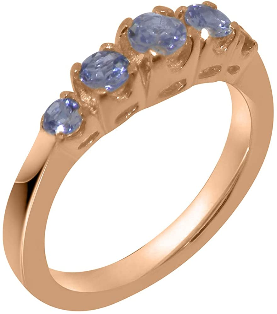 Solid 14k Rose Gold Natural Tanzanite Womens band Ring - Sizes 4 to 12 Available