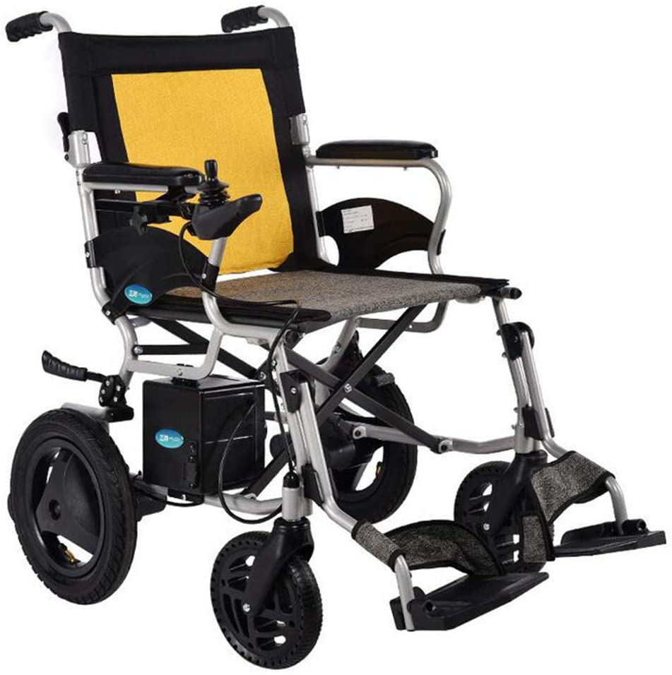 CHJ 2020 New Folding Portable Travel Electric Wheelchair, 12AH Lithium Battery, Front and Rear Dual Control, Light Travel, Dual Function Fast Folding