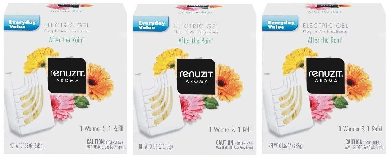 2 RENUZIT After The Rain ELECTRIC GEL Refills +2 WARMERS Fits Glade PlugIns 2 Box