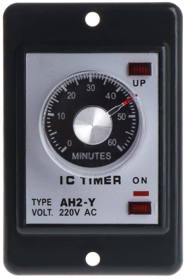 QWERTOUR 0-60 Seconds/Minutes Power On Delay Timer Relay with Socket Base AC 220V AH2-Y Time Switch,60 Minutes