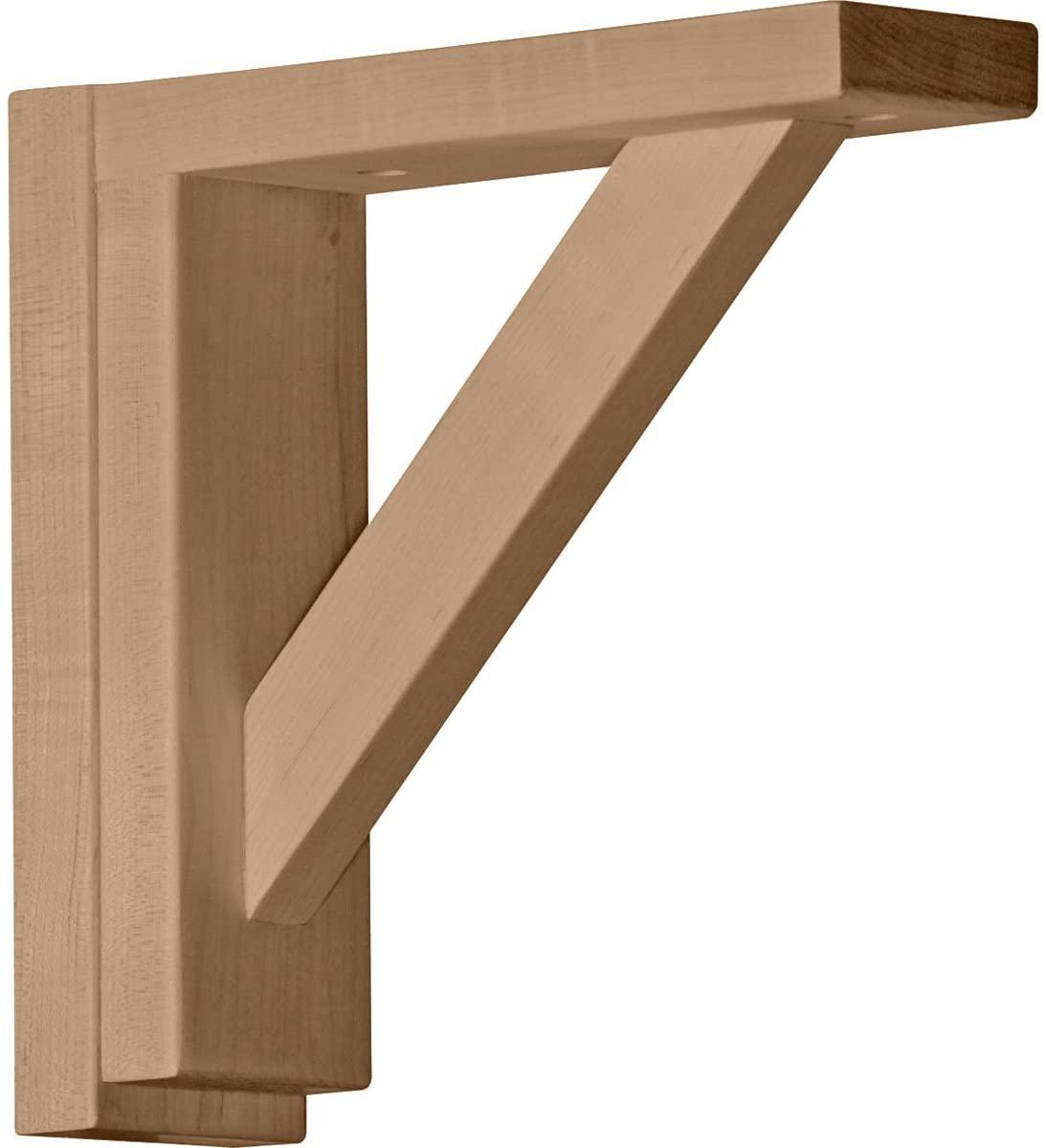 Ekena Millwork BKT02X08X08TRRW-CASE-4 Traditional Shelf Bracket, Rubberwood - Ready to be Stained