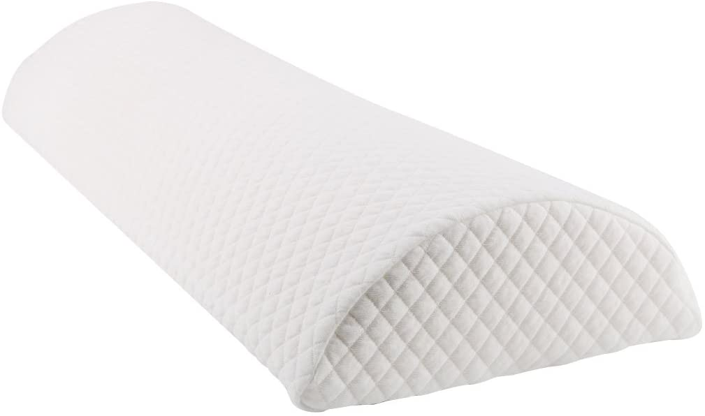 uxcell Half Moon Memory Foam Cushion Semi-Roll Pillow Four Position Support Pillow with Washable Cover White Large