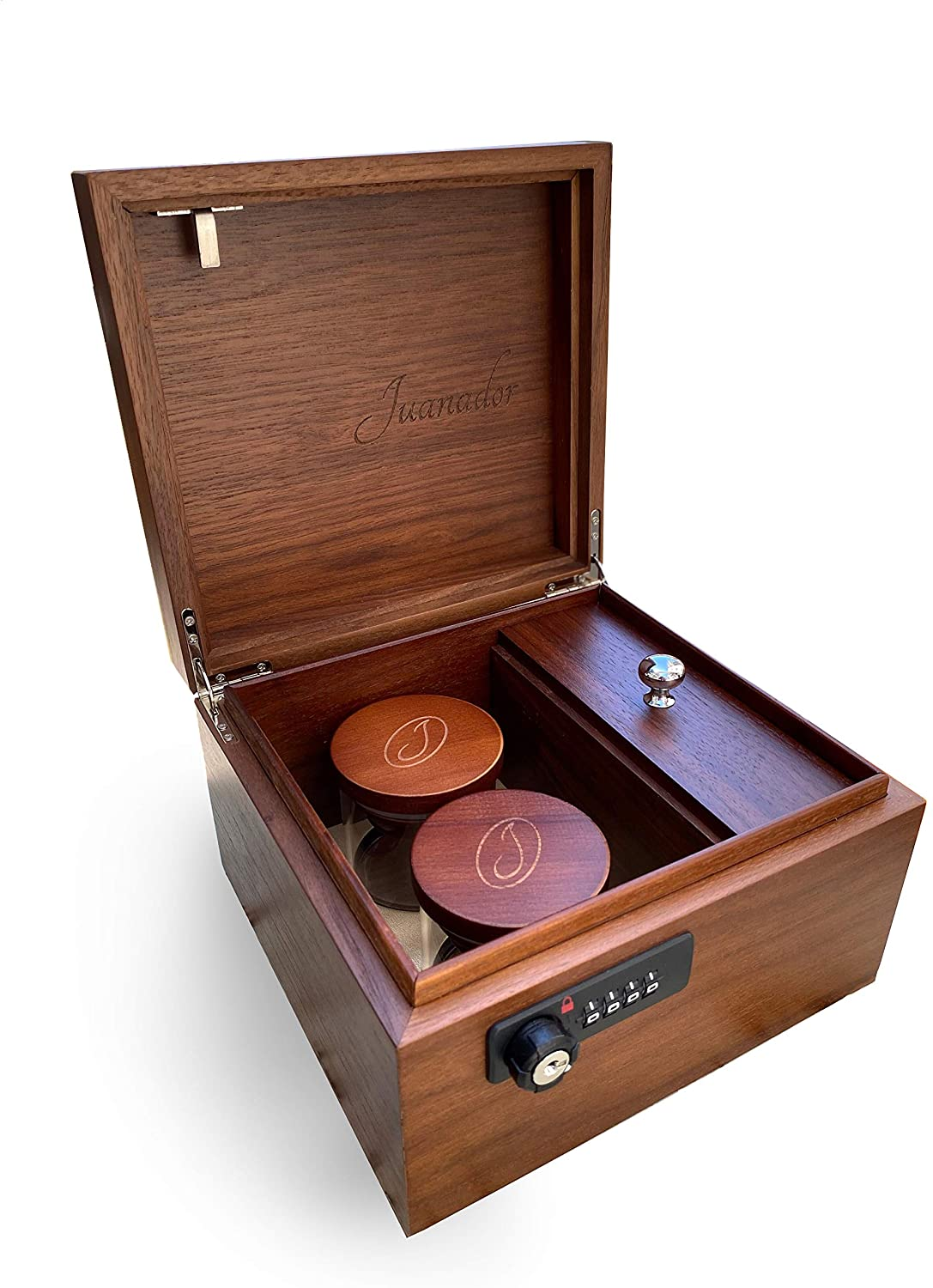 Juanador - Stash Box and Humidor - Beautifully Crafted Walnut with 2 Glass Humidity Jars, Removable Rolling Tray and Secure Combination Lock (2 Strain Case, Walnut)