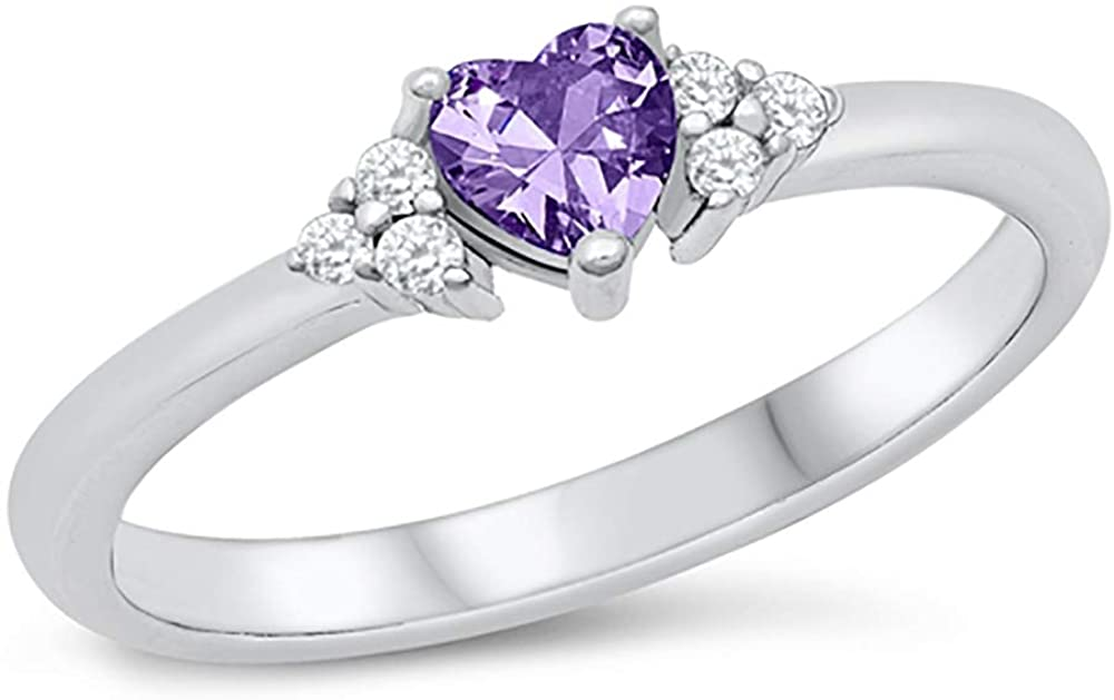 CLOSEOUT WAREHOUSE Simulated Sapphire Cubic Zirconia Triple Sides Heart Promise Ring Sterling Silver