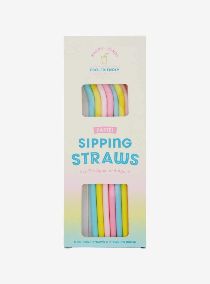 Pastel Silicone Reusable Straw Set