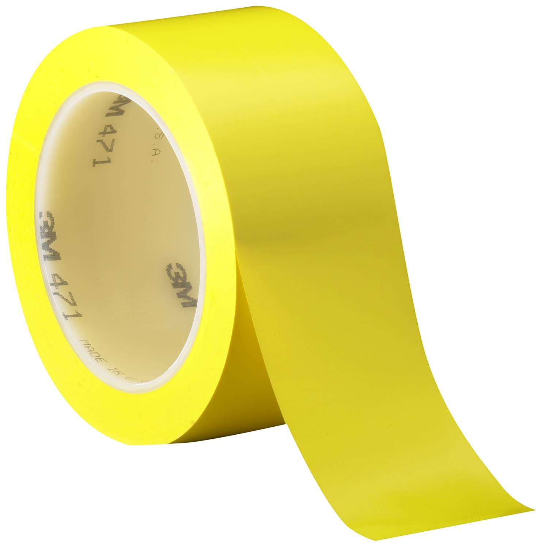 3M Vinyl Tape 471, Yellow, 3/4 in x 36 yd, 5.2 mil, 48 rolls per case