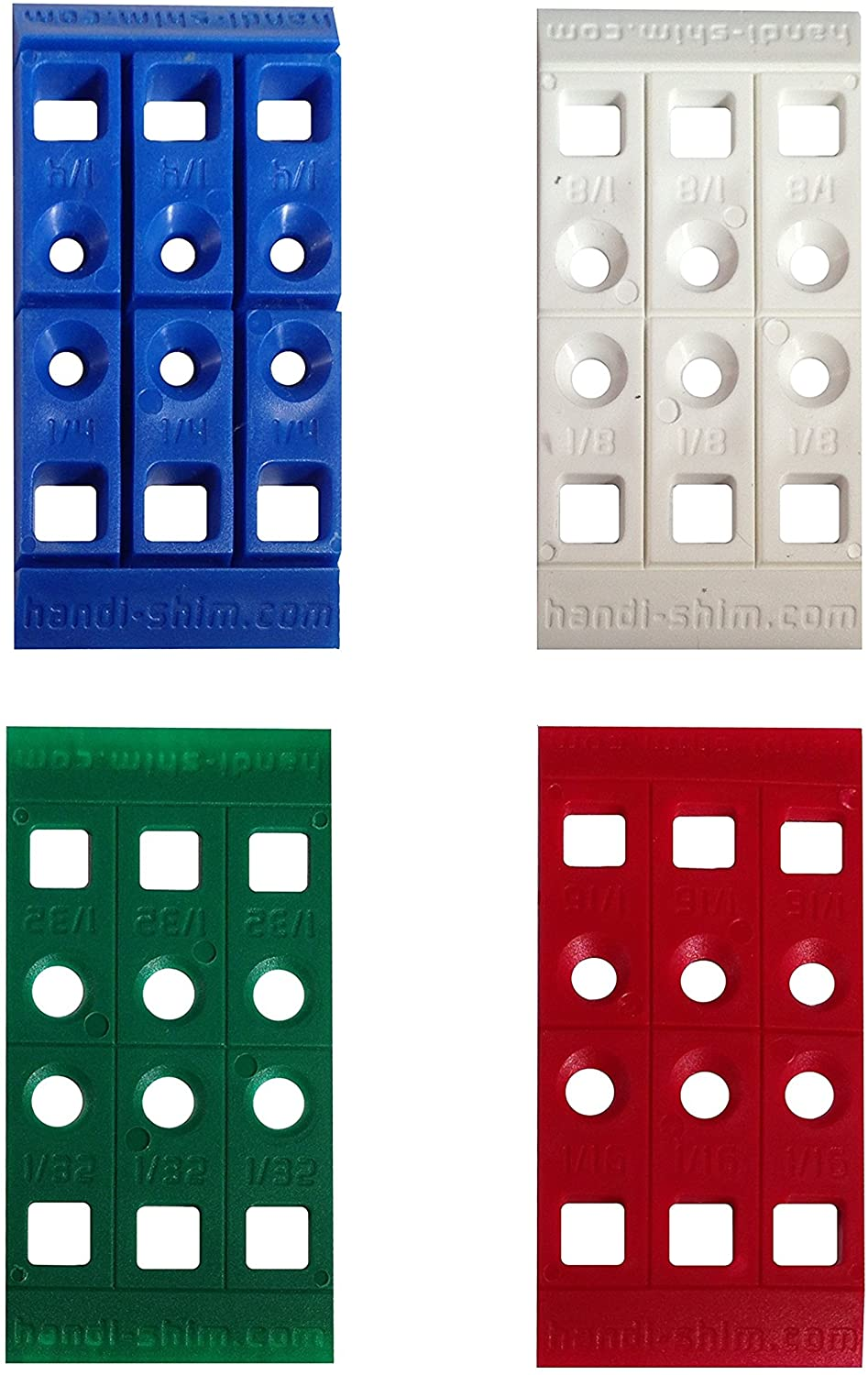 Handi-Shim Heavy Duty Reusable Plastic Construction Shims for Spacing, Leveling, Plumbing and more - 100 Piece Assorted Pack (4 sizes)