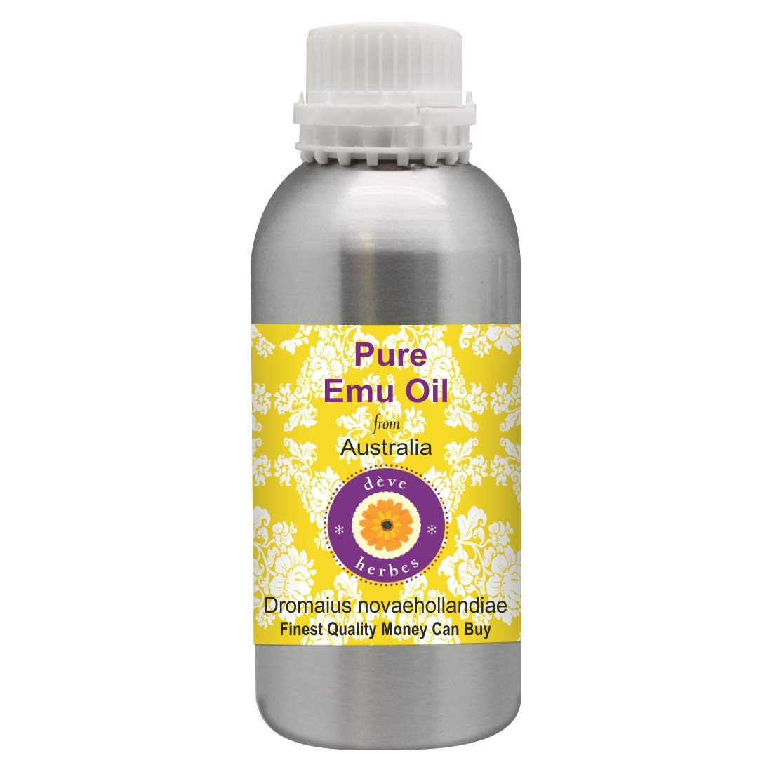 Deve Herbes Pure Emu Oil (Dromaius novaehollandiae) 100% Natural Therapeutic Grade 630ml (21.3oz)