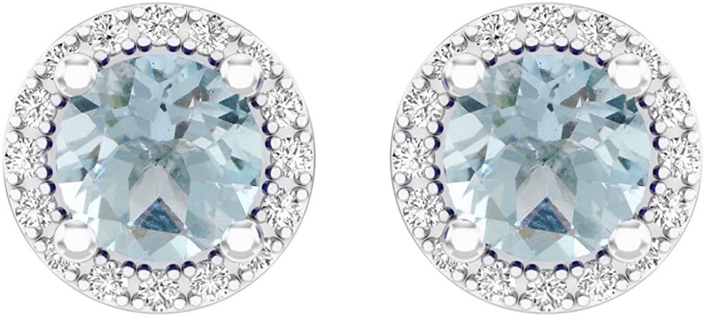 Fingalo 14K White Gold Round Aquamarine & White Diamond Ladies Halo Style Stud Earrings 2 CT