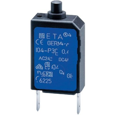 E-T-A Circuit Protection and Control 104-PR-1A , Circuit Breaker; Therm; Push; Cur-Rtg 1A; PCB; 1 Pole; Vol-Rtg 240/48VAC/VDC