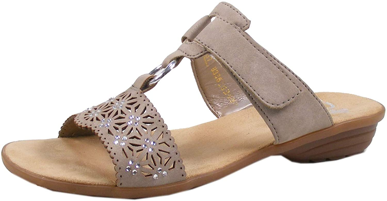 Rieker V3411-60 YORKINAP Light Taupe Womens Slide Sandals