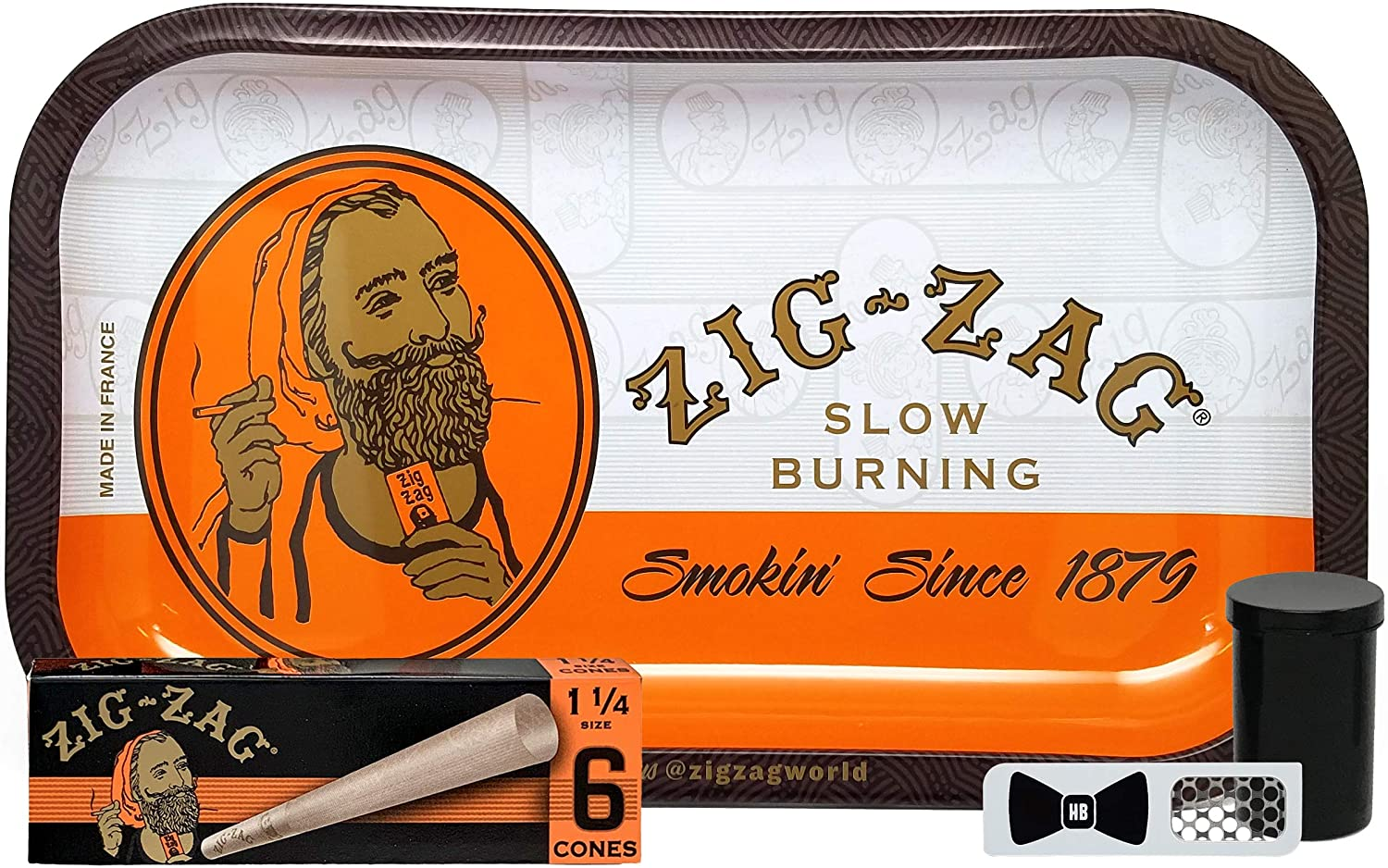 Zig Zag 1 1/4 Pre Rolled Cones (1 Pack), Zig Zag Orange Rolling Tray, Small Flip Top Storage Container (2 Pack), with Hippie Butler Grinder Card - 5 Item Bundle