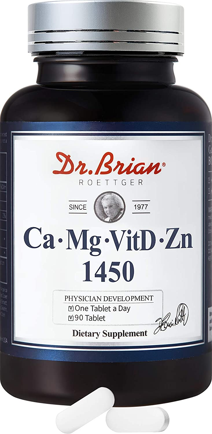 Dr.Brian ROETTGER Ca Mg VitD Zn 1450, 90 Tablets - Calcium, Magnesium, VitaminD, Zinc Supplements for Help The Structure Coagulation of Blood & Energy Utilization and Maintenance of Bones and Teeth