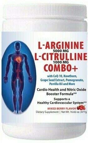 L-arginine 5000 mg and L-citrulline 1000 mg Combo, Nitric Oxide Supplement Complex, Cardio Heart Health Powder, Mixed Berry Flavor, 16.82 Oz.