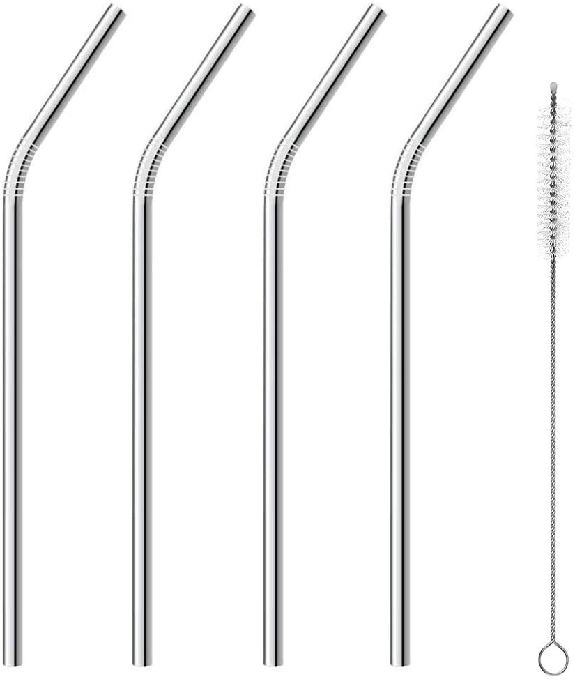Metal Straws, Stainless Steel Straws, Reusable Drinking Straws, 10.5 inch Bent Metal Drinking Straw for 20 oz and 30 oz Tumblers Cups Mugs, Cleaning Brush Included