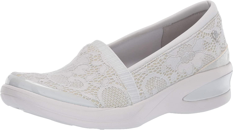 BZees Women's Flirty Loafer, Light Grey Floral lace, 6 M M US