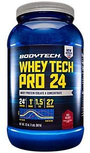 BodyTech Whey Tech Pro 24 Protein Powder Protein Enzyme Blend with BCAAs to Fuel Muscle Growth Recovery, Ideal for PostWorkout Muscle Building Red Velvet (2 Pound)
